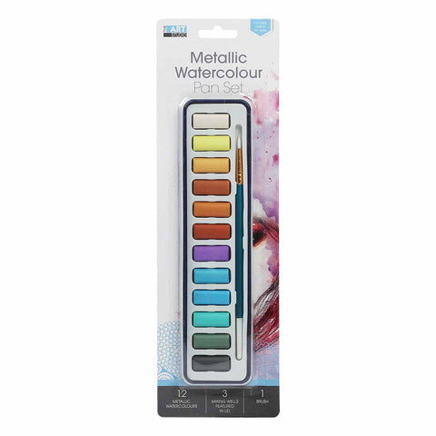 Metallic Watercolour 12 Colours Pan Set With Brush
