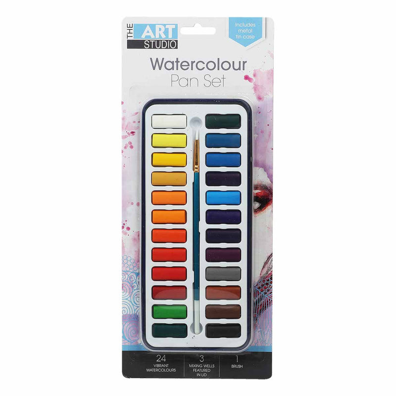 Chocolate The Art Studio Watercolour Painting Tin Set with Brush  24 Pack Watercolour Paints