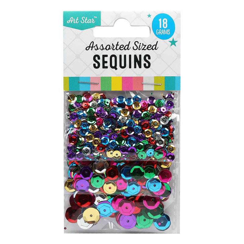Asst Size Sequins 18g- Asst Colour