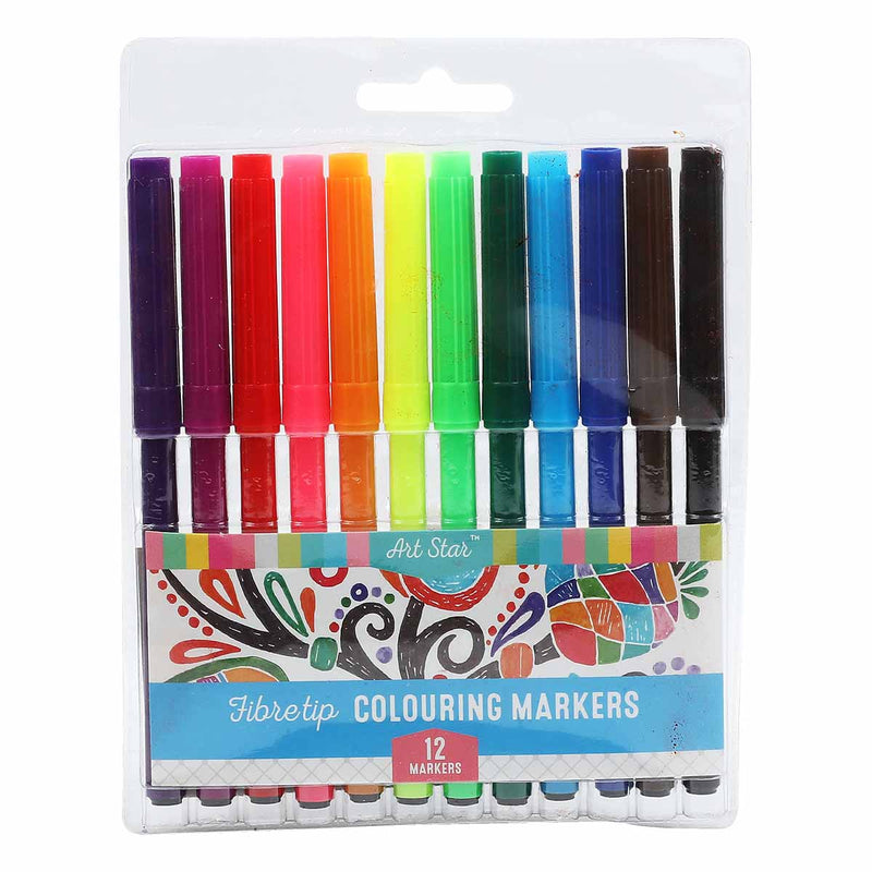 Art Star Fibre Tipped Colour Markers 12 Pack