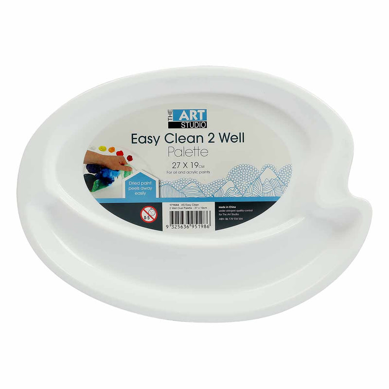 The Art Studio Easy Clean 2 Well Oval Palette 27 x 19cm