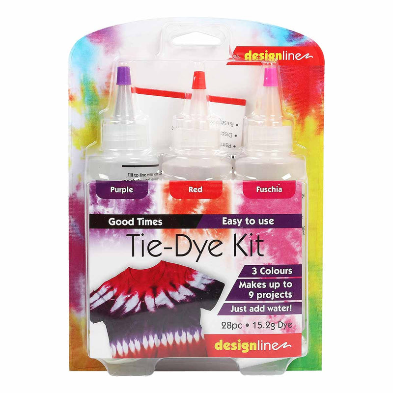 Orange Red Design Line Good Times Tie Dye Kit Assorted Colours 3 Pack Fabric Paints and Dyes