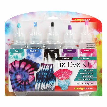 Lavender Design Line Festival Tie Dye Kit Assorted Colours 5 Pack Fabric Paints and Dyes