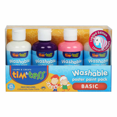 Sky Blue Tim & Tess Children's Washable Poster Paint Set 4 Unicorn Colours 250ml Bottles Kids Painting