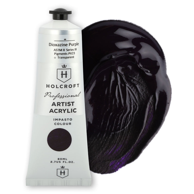 Black Holcroft Professional Acrylic Impasto Paint Diox Purple S3 80ml Acrylic
