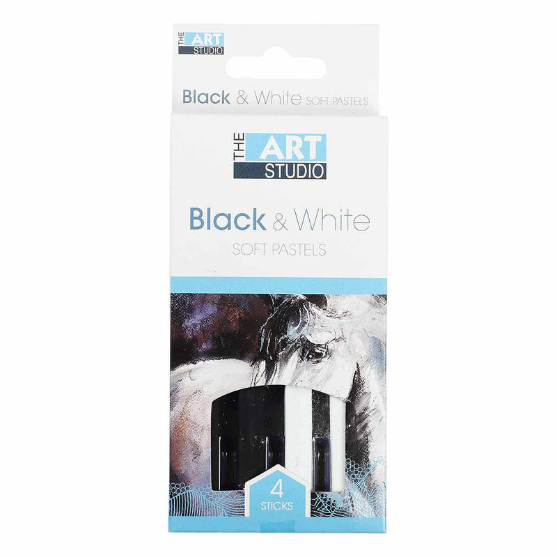The Art Studio Black/White Soft Pastels 4 Pieces