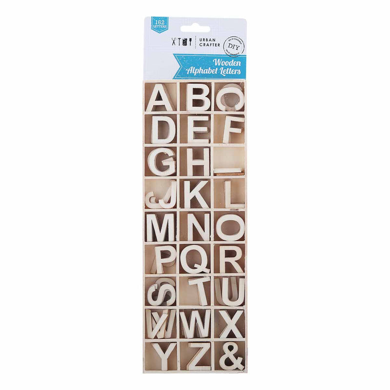 Gray Urban Crafter Wooden Alphabet Letters 162 Pieces Wood Crafts