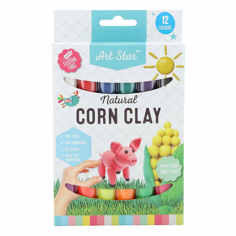 Lavender Art Star Natural Corn Clay 12 Assorted Colours  270g Kids Modelling