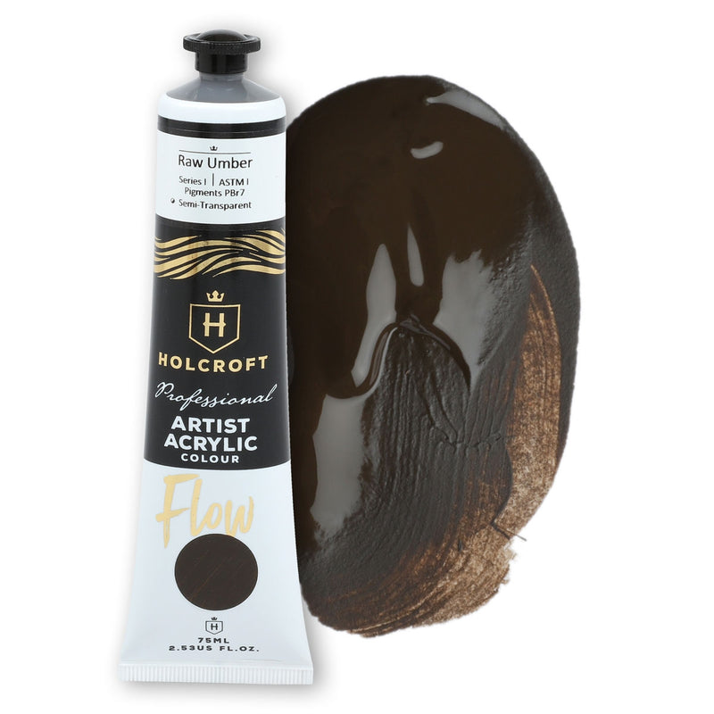 Holcroft Professional Acrylic Flow Paint 75ml Raw Umber S1 ASTM1