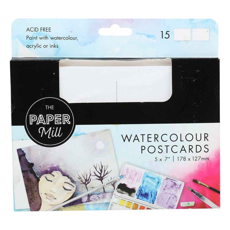 The Paper Mill Watercolour Postcards 178 x 127mm 15 Pack