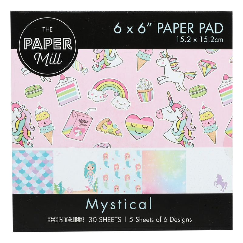 The Paper Mill Paper Craft Pad Mystical Designs 6 x 6 inch 30 Sheets