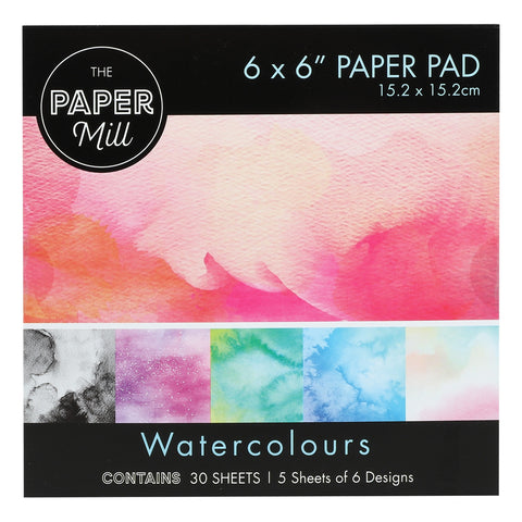 The Paper Mill 6 x 6 Inch Paper Pad 30 Sheets Watercolours