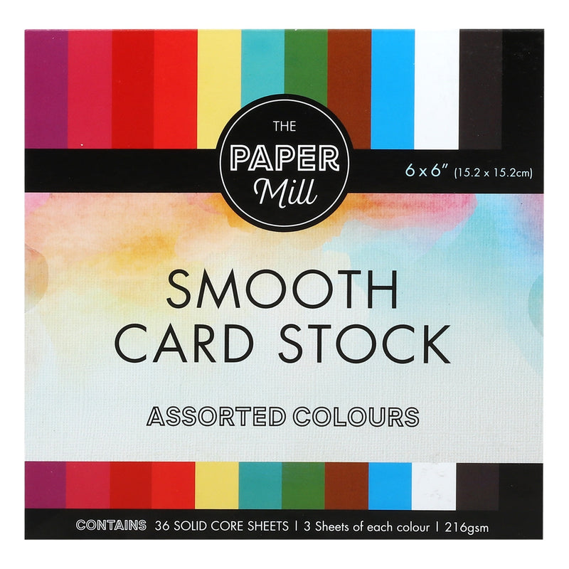 The Paper Mill 216gsm 6 x 6 Inch Card Stock 36 Sheets