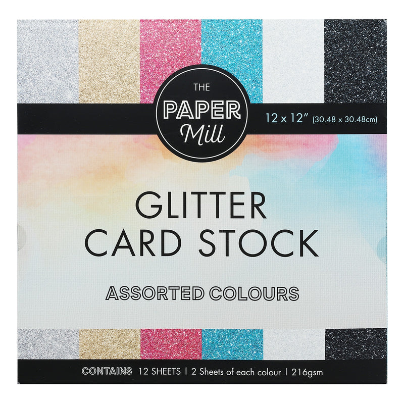 The Paper Mill 216gsm 12x12 Inch Glitter Cardstock 12 Sheets