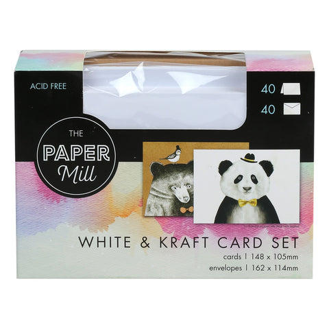 The Paper Mill White and Kraft Card and Envelope Pack 80 Pieces