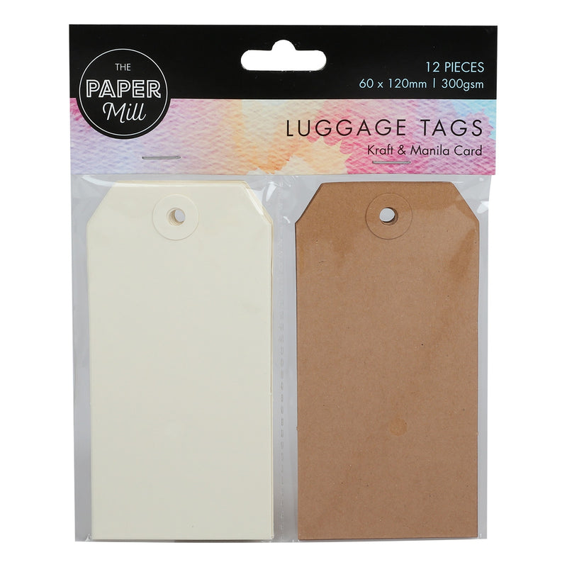 Paper Mill Medium Kraft and Manila Tags 12pc