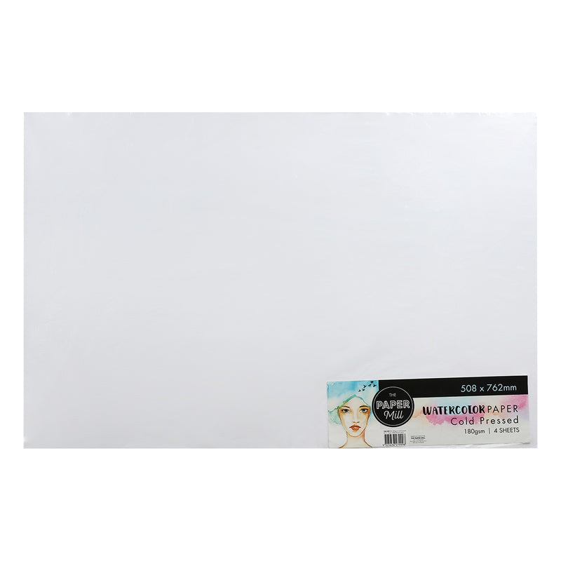 The Paper Mill Watercolour Paper Cold Pressed 180gsm 508 x 762mm 4 Sheets