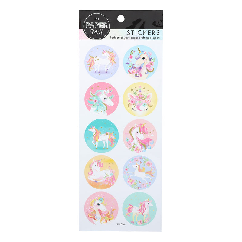 The Paper Mill Foil Paper Stickers Unicorns