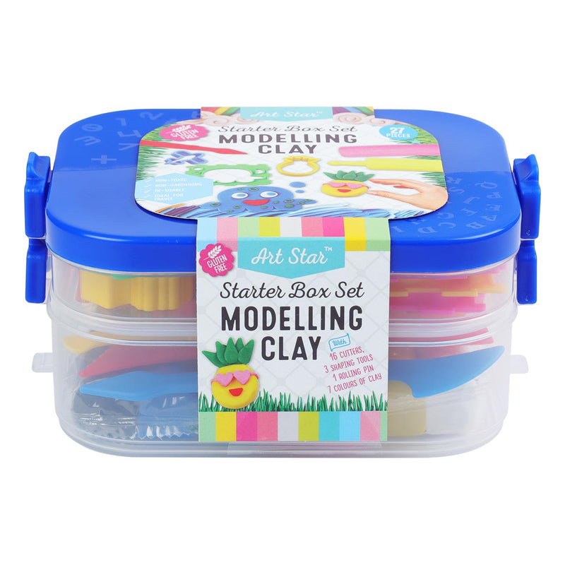Sky Blue Art Star Modelling Clay / Plasticine Starter Box Set 27 Pieces Kids Modelling