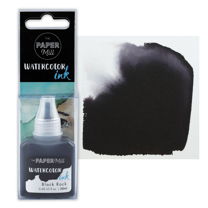 The Paper Mill Watercolour Ink  Black Rock 20ml