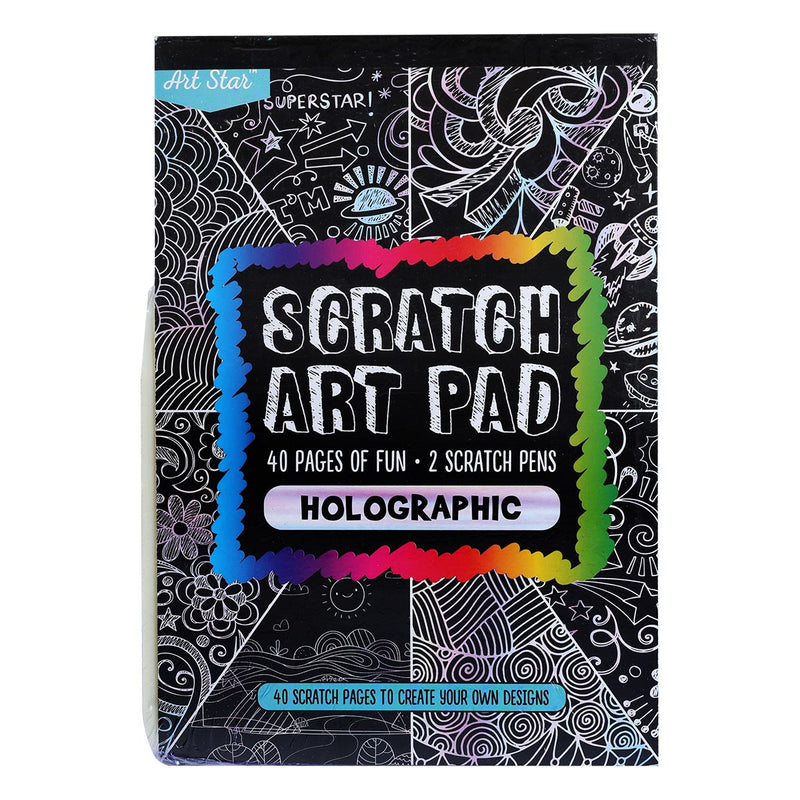 Art Star A5 size Scratch Art Pad 40 Sheets with 2 Pens Holographic