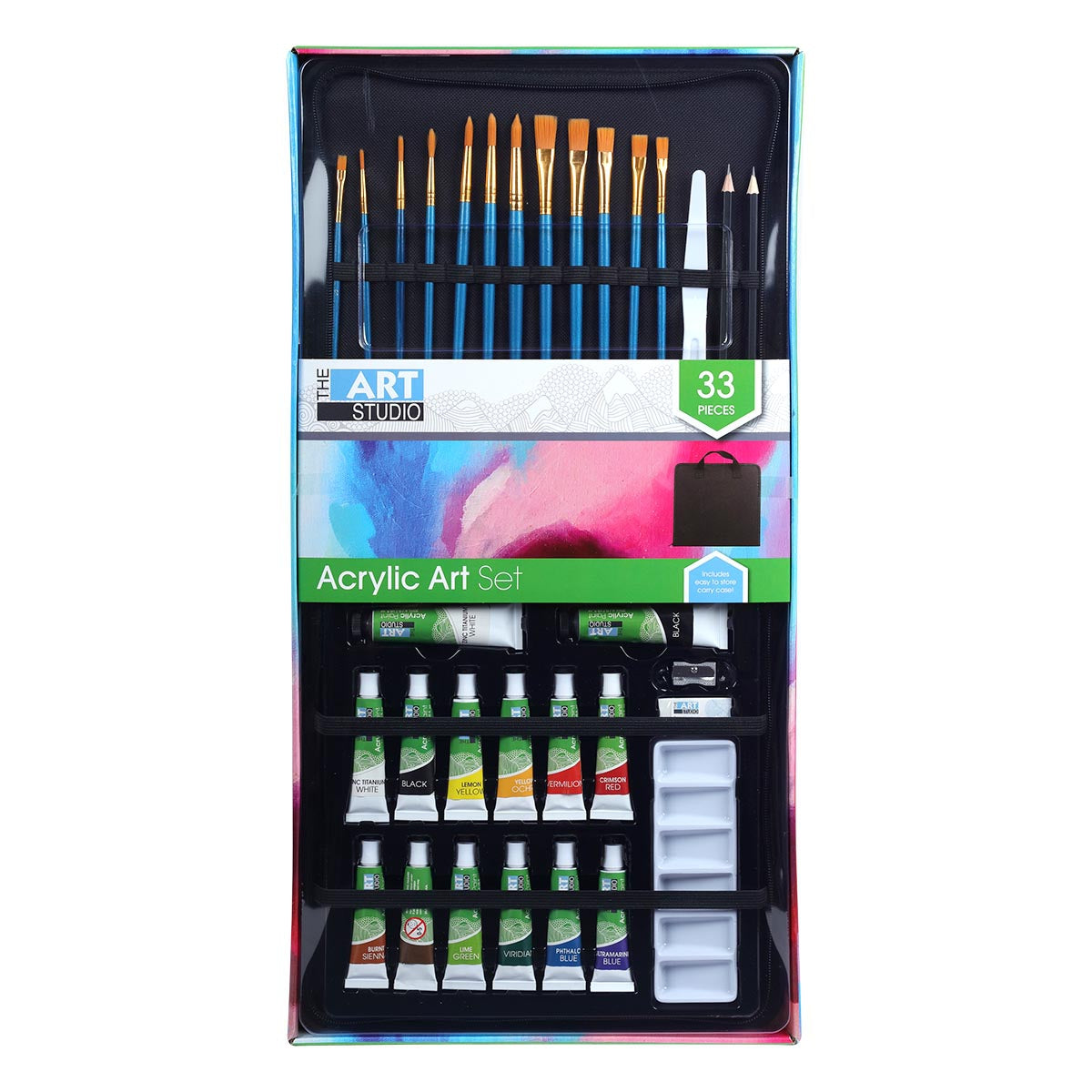 Image of The Art Studio Acrylic Paint and Brush Set 33 Pieces