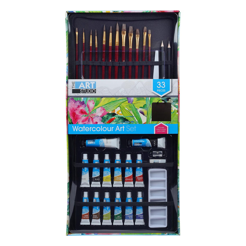 Dodger Blue The Art Studio Watercolour Paint and Brush Carry Case Set 33 Pieces Painting Art Sets
