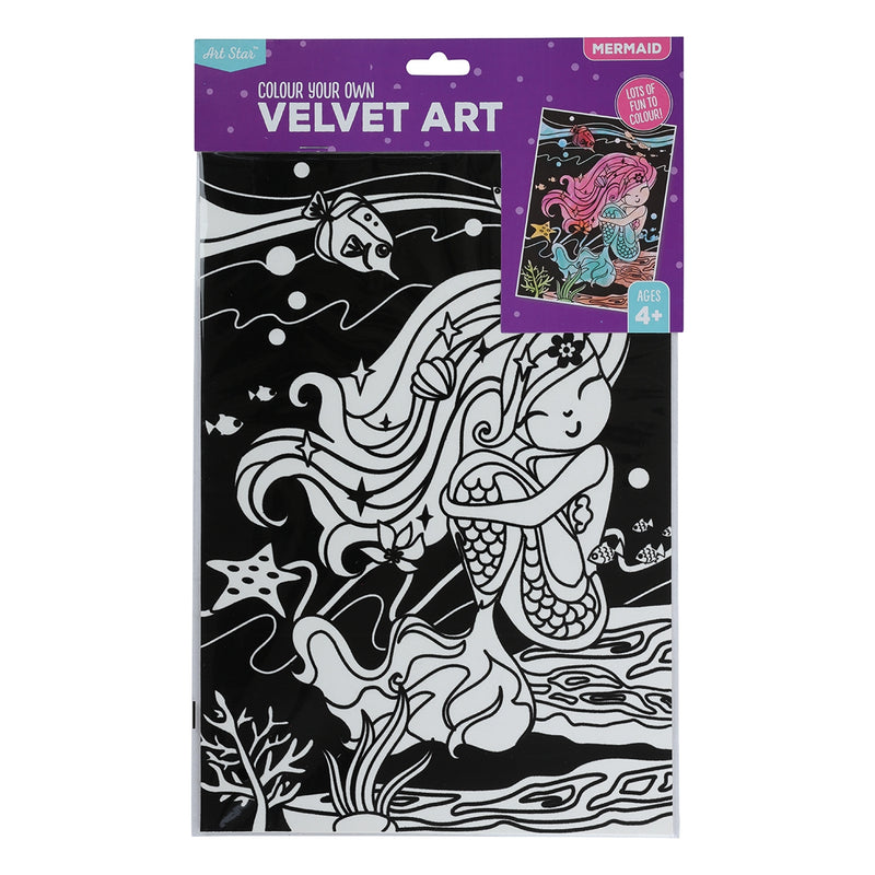 Black Art Star Colour Your Own Mermaid Velvet Art Kids Kits