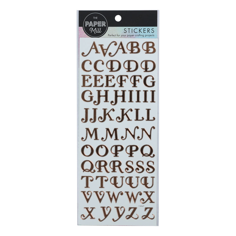 Paper Mill Stickers - Rose Gold Capital Alphabet 2