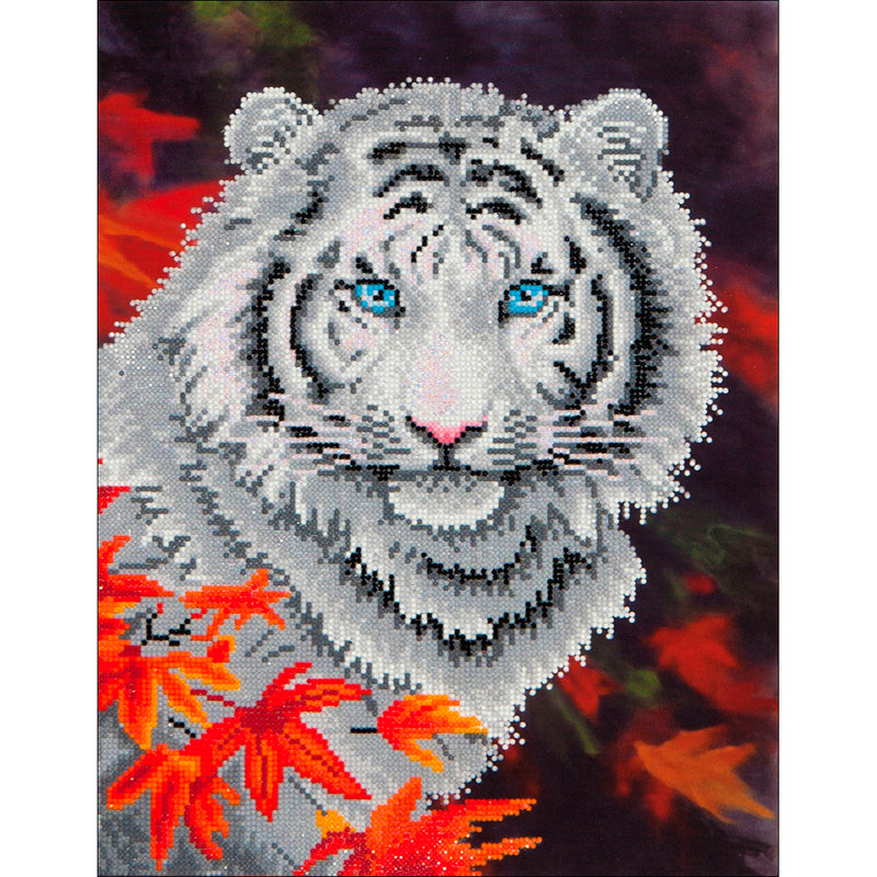 Gray Diamond Dotz Diamond Embroidery Facet Art Kit - White Tiger in Autumn 45x35cm Diamond Art