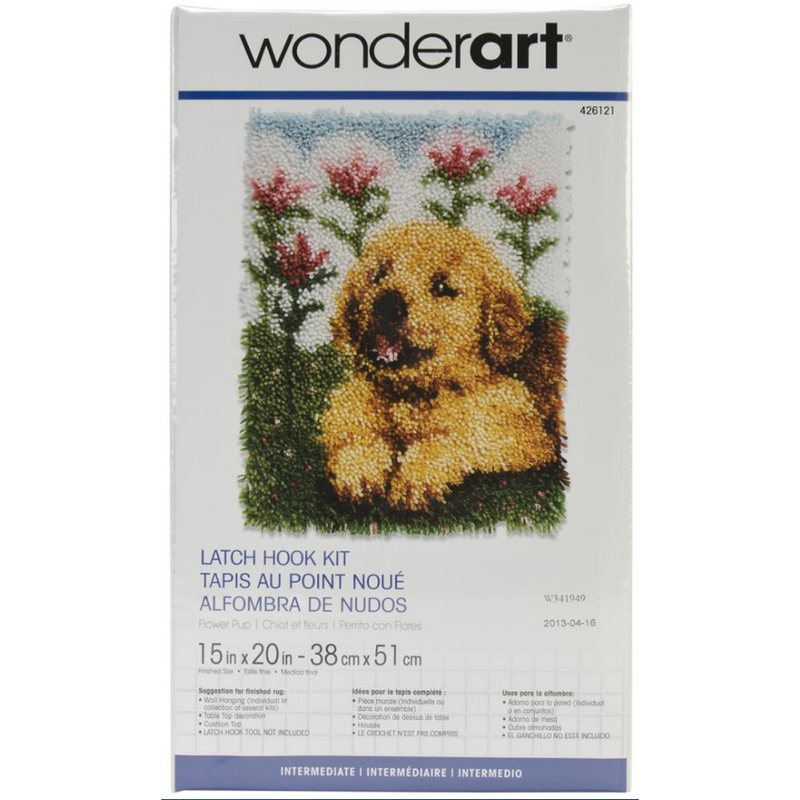 Dark Khaki Wonderart Latch Hook Kit 38x50cm  Flower Pup Latch Hook Kit