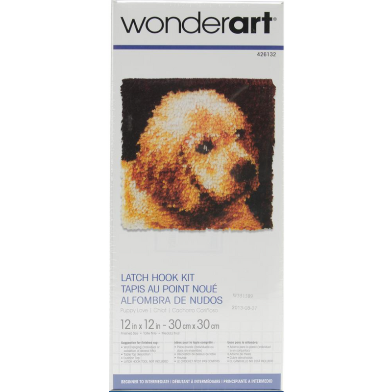 Dark Khaki Wonderart Latch Hook Kit 30x30cm   Puppy Love Latch Hook Kit