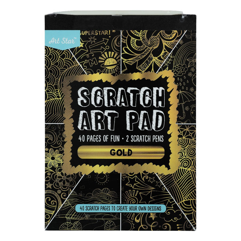 Dark Khaki Art Star A5 Scratch Art Pad Gold 40 Sheets Kids Kits