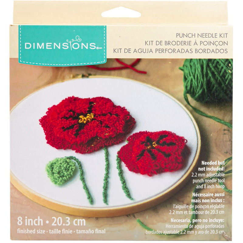Brown Dimensions Punch Needle Kit 20cm  Round  Poppies Pin Needlework