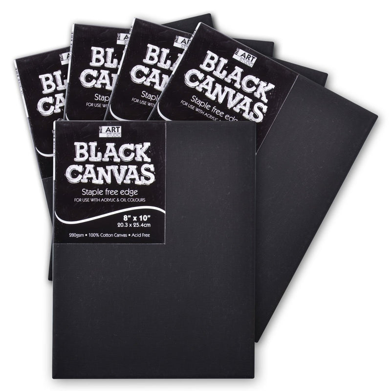 Box of 5 Art Studio Thin Bar Black Stretched Canvas 8 x 10 Inch - 16mm Thick Canvas Bar