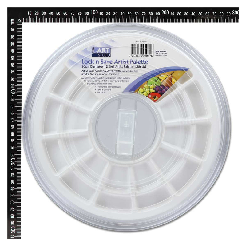 The Art Studio 12 Well Artist Palette with Lid 30cm diameter