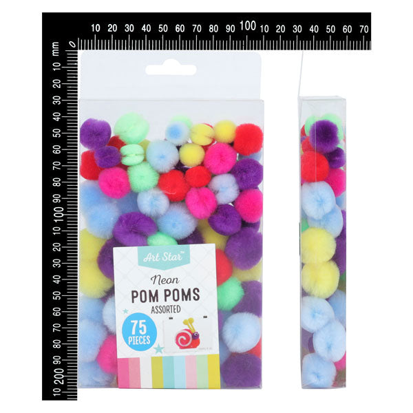 Art Star Neon Pom Poms Assorted Colours 75 Pieces