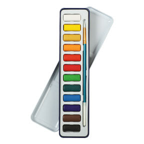 The Art Studio Watercolour Pan Tin Set with Brush 12 Colours