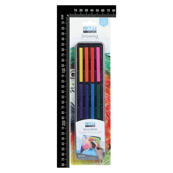 Chocolate The Art Studio Woodless Pastel Sticks Tin Set Assorted Colours 12 Pieces Pencils