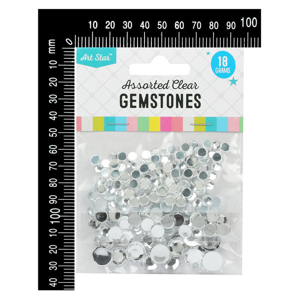 Gray Art Star Clear Gemstones Assorted Sizes 18g Sequins