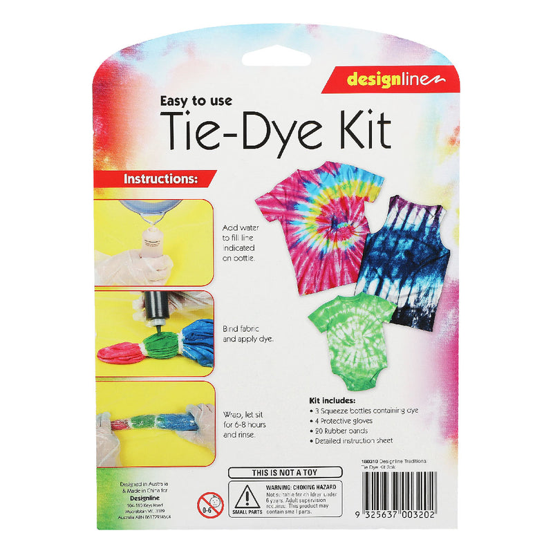 Design Line Traditional Tie Dye Kit Assorted Colours 3 Pack