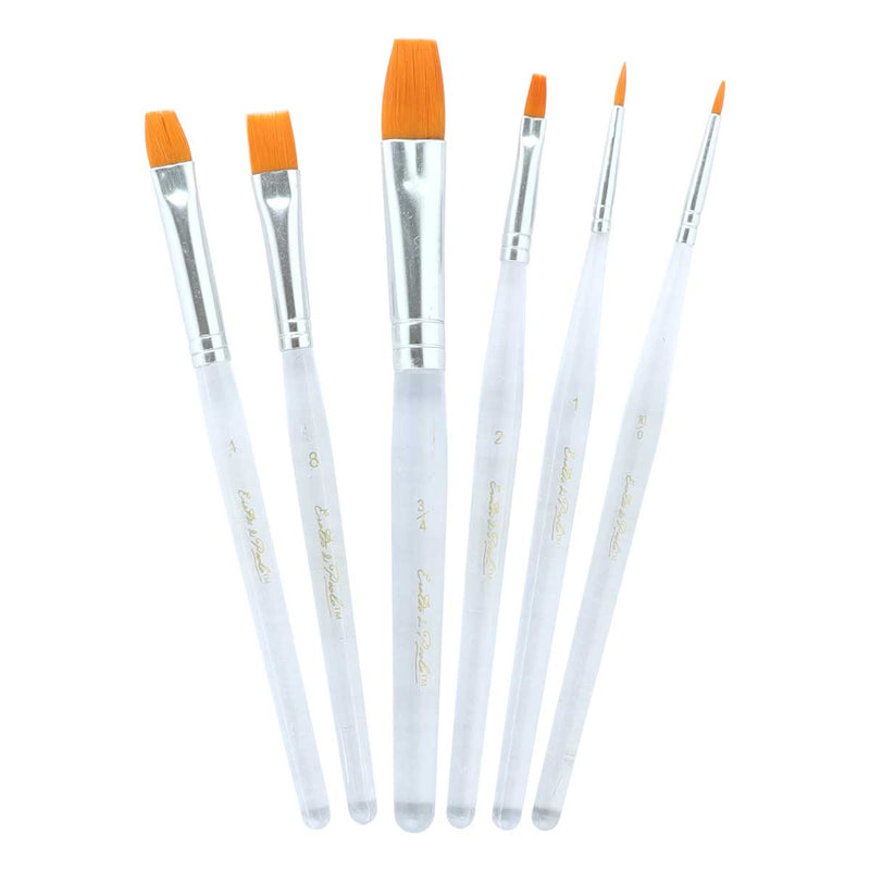 Lavender Eraldo Di Paolo Gold Taklon Acrylic Brush Set 6 Pack Brushes