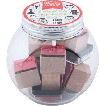 Rosy Brown Make A Merry Christmas Wooden Stamp and Ink Pad Jar 10 Pieces Christmas