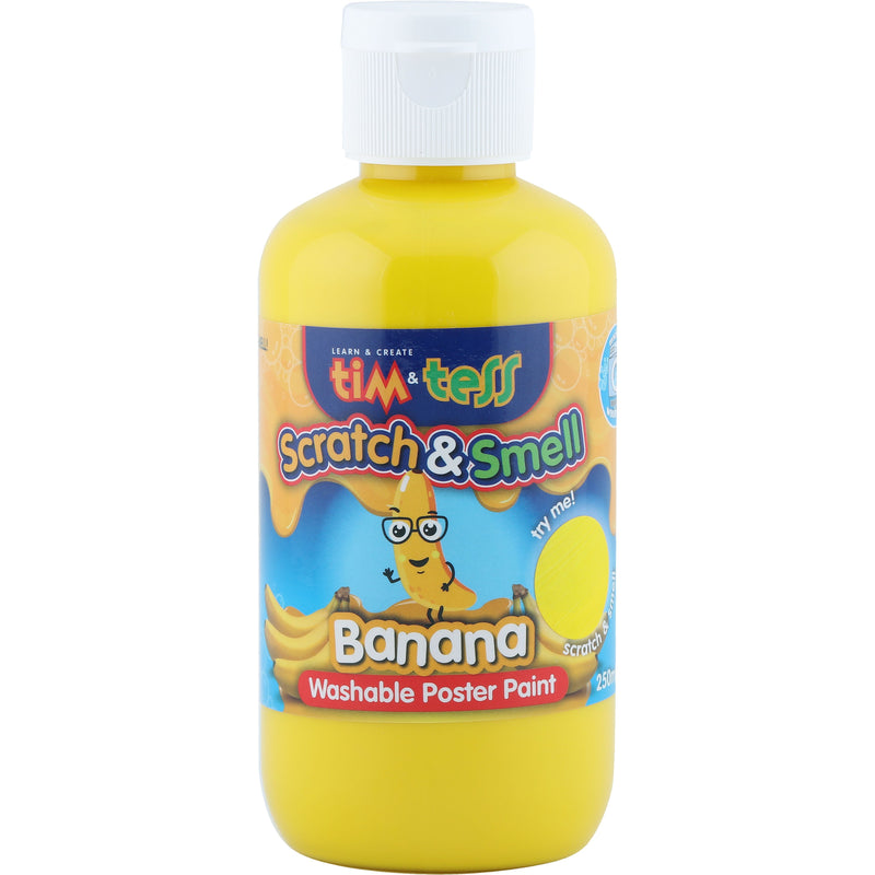 Tim & Tess Scratch & Smell  Childrens Washable Poster Paint 250ml Yellow Banana