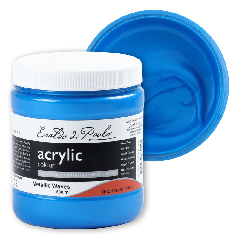 Royal Blue Eraldo Di Paolo Acrylic Paint Metallic Waves 500ml Acrylic