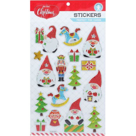 Lavender Art Star Xmas Embossed Foil Stickers-Gnomes & Toys Christmas