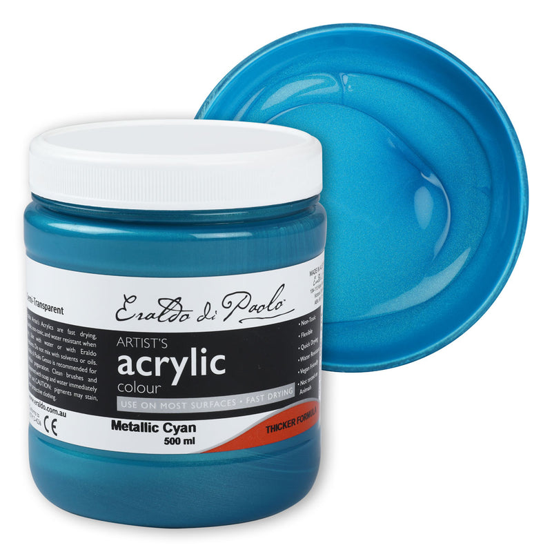Eraldo Di Paolo Acrylic Paint 500ml Metallic Cyan