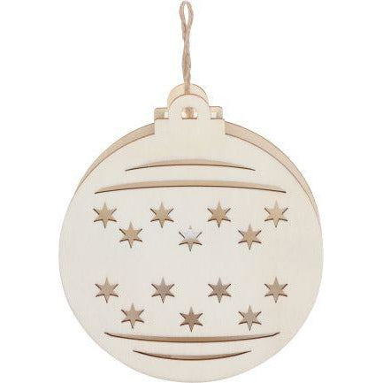 Antique White Make A Merry Christmas Led Light Up Plywood Round Bauble Christmas