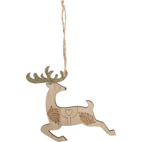 Rosy Brown Make A Merry Christmas  Glittered Leaping Reindeer Hanger Christmas