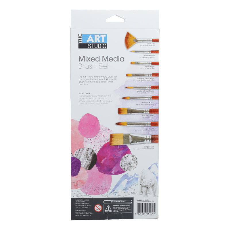 Art Studio Synthetic Watercolour Brush Set 9pieces
